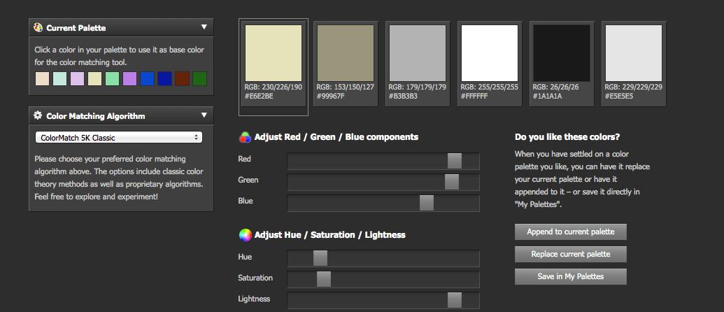 Die Funktion Color Matching liefert passende Farbtöne zu einer ausgewählten Farbe - zusätzliches Feintuning ist möglich.