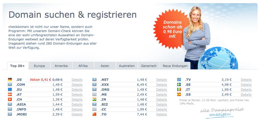 Nutzer können Domains über Registrare wie checkdomain registrieren.