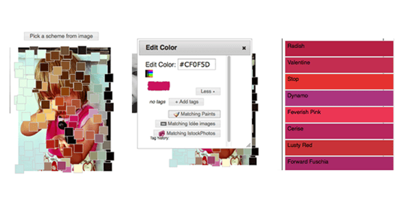 Bild hochladen - Farbe anklicken - Farbpalette wird automatisch erstellt: colr.org ist einfach zu bedienen, aber vergleichsweise karg in den Möglichkeiten.