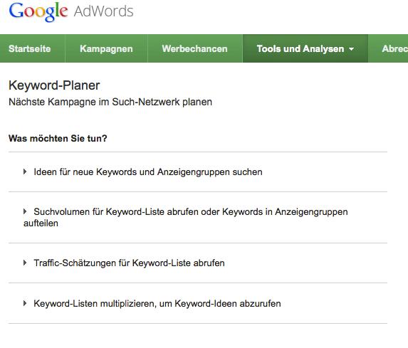 Wie oft wird nach meinen Suchbegriffen gefragt? Der Keyword-Planer liefert die gewünschten Informationen.