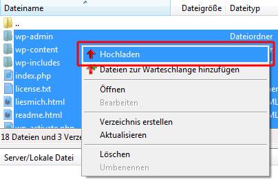 WordPress Daten auf neuen Server laden