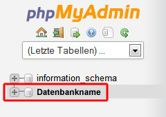 Datenbank im phpMyAdmin wählen