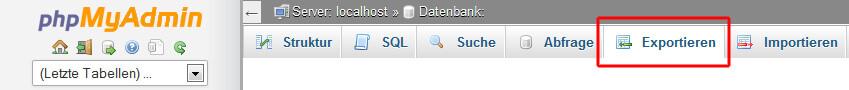 Exportieren der Datenbank im phpMyAdmin