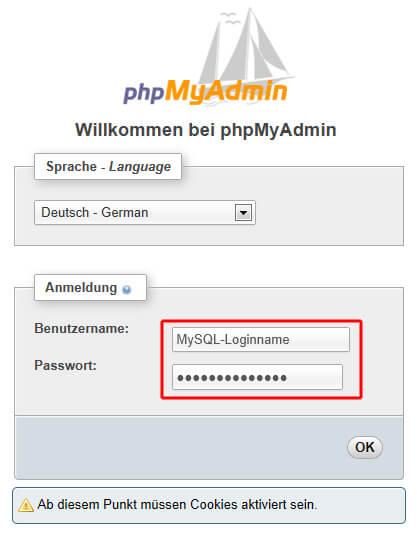 Anmeldung im PHPmyAdmin