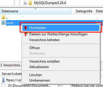 MySQLDumper auf das Hosting laden