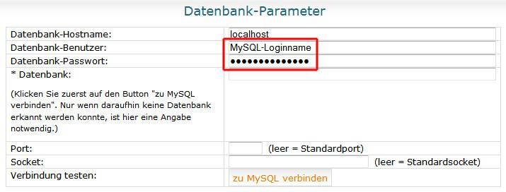MySQLDumper - Datenbank Parameter