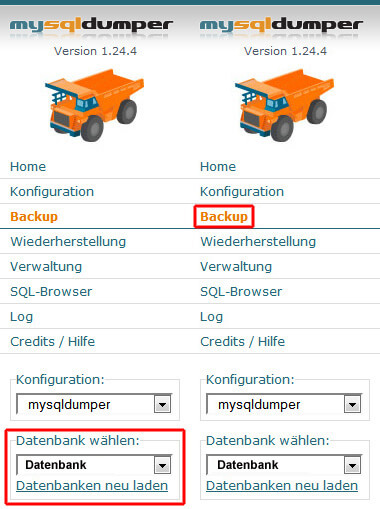 MySQLDumper: Datenbank wählen und exportieren starten