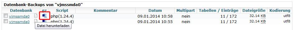MySQLDumper - SQL-Datei auf dem PC sichern