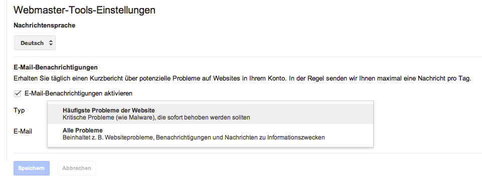 email-Einstellungen-Google-Webmastertool