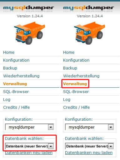 MySQLDumper - Verwaltung