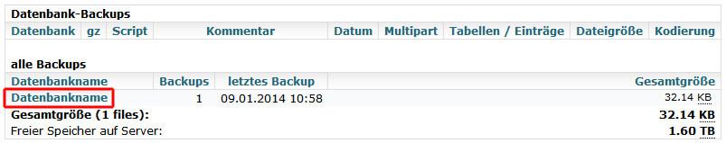 MySQLDumper - Zu importierende Datenbank markieren