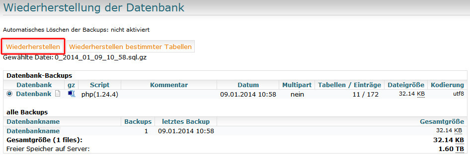 MySQLDumper - Datenbank wiederherstellen