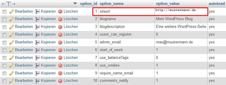 WordPress Datenbank - Siteurl anpassen
