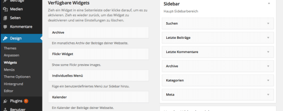 """Bei WordPress können gerade nicht benötigte Widgets """"zwischengeparkt"""" werden."""