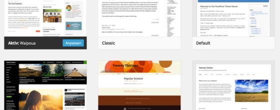 Bei WordPress gibt es bereits eine Auswahl kostenloser Standard-Themes - mehr Layout-Möglichkeiten findest Du im Netz.