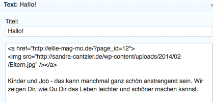 Du fügst in der ersten Zeile die URL der gewünschten Seite ein. Anschließend landen Besucher per Klick in diesem Fall direkt auf der About-Seite.