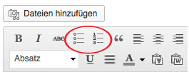 Einfach auf das Tabellensymbol klicken und schon lässt sich eine übersichtliche Liste erstellen.