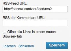 Die Feed-URL muss im entsprechenden Widget eingetragen werden. Screenshot: S. Cantzler