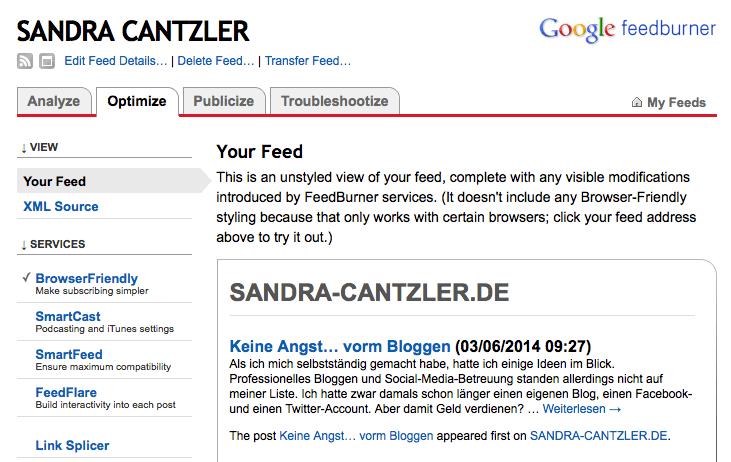 Nach den ersten Schritten sieht Feedburner noch nicht nach allzu viel aus, doch die Anwendung bietet jede Menge Optimierungspotenzial. Screenshot: S. Cantzler
