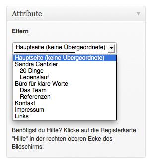 Über das Dropdown-Menü können Seiten in eine Rangordnung gebracht werden. Screenshot: S. Cantzler