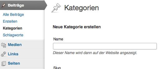 Erster Schritt zur Navigation über Kategorien: Im Dashboard eine neue Kategorie anlegen. Screenshot: S. Cantzler