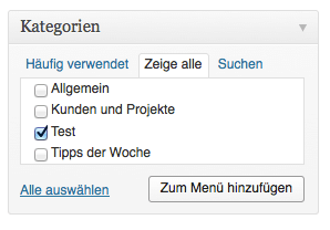 Im nächsten Schritt musst Du die gewünschte Kategorie nur noch dem Menü hinzufügen. Screenshot: S. Cantzler