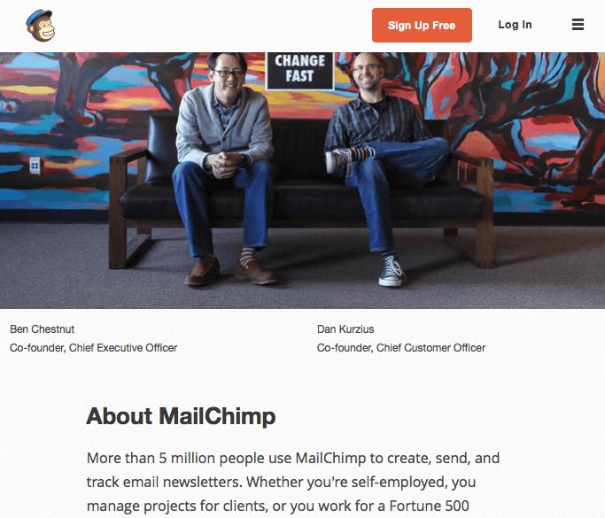 Wer sind die Köpfe hinter dem Unternehmen? Was hat das alles mit Schimpansen zu tun? Und wie entwickelt sich das Geschäft? Auf der About-Seite von MailChimp finden sich alle diese Infos ansprechend verpackt. Screenshot: mailchimp.com