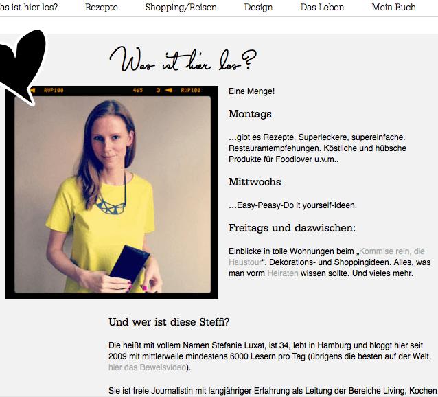 Stefanie Luxat ist eine der bekanntesten Lifestyle-Bloggerinnen Deutschlands. Auf ihrer About-Seite erfahren Leser unter anderem, was sie auf ohhhmhhh.de Tag für Tag erwartet. Screenshot: ohhhmhhh.de