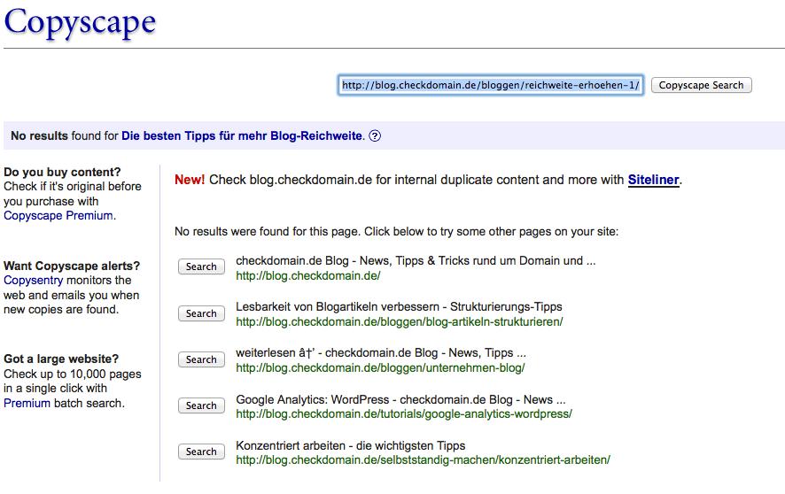 Mit Onlinediensten wie Copyscape könnt Ihr das Netz systematisch nach Plagiaten Eurer texte absuchen. Screenshot: CopyScape