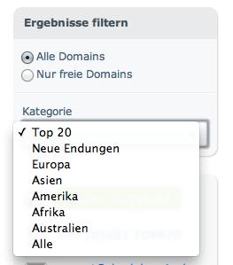 Filter Domaincheck Kategorie