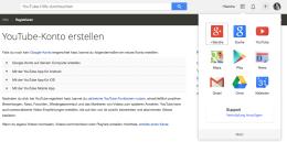Wer sich bei YouTube registrieren möchte, braucht ein Google-Konto - der Rest läuft dann fast komplett automatisch ab. Screenshot: S. Cantzler