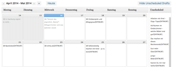 Alle Beiträge im Blick: Mit Hilfe des Editorial Calendar sieht man sofort, wo es noch Lücken gibt und welche Beiträge noch fertiggestellt werden müssen. Screenshot: S. Cantzler