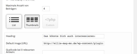 Bei YARPP könnt Ihr unter anderem einstellen, ob verwandte Beiträge mit oder ohne Thumnail angezeigt werden sollen. Screenshot: S. Cantzler
