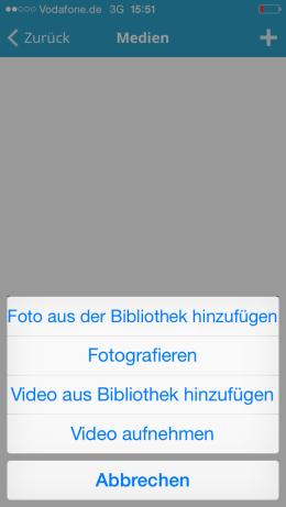 Aus der Bibliothek hochladen oder live illustrieren: Die WP-App bietet Dir beide Möglichkeiten. Screenshot: S. Cantzler