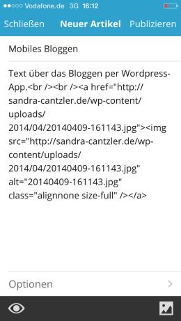 Nur mit HTML-Kenntnissen zu entschlüsseln: Bild einfügen in der mobilen Variante. Screenshot: S. Cantzler