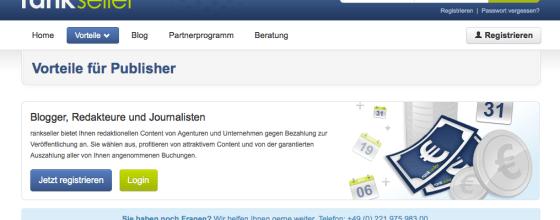 Plattformen wie Rankseller kümmern sich ums Content-Marketing und bringen Blogger und Unternehmen zusammen. Screenshot: rankseller.de