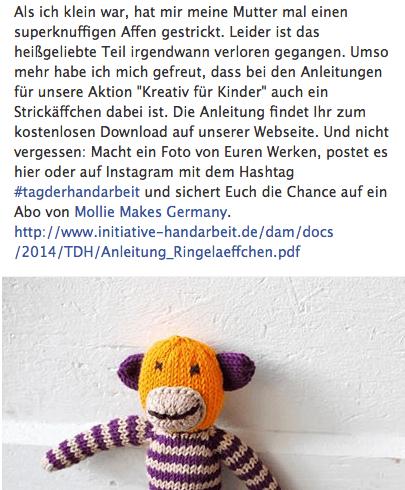 Der persönliche Dreh: Sucht für Posts auf Facebook und Co. nach Aspekten, die Euch Euren Nutzern näher bringen. Screenshot: facebook.com/initiativehandarbeit