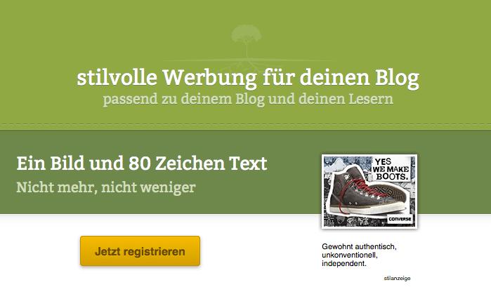 Auch eine Möglichkeit: Vermarkter wie Stilanzeigen kümmern sich um Werbung auf Eurem Blog, wenn Ihr Euch an Direktvermarktung nicht herantraut. Screenshot: stilanzeigen.de
