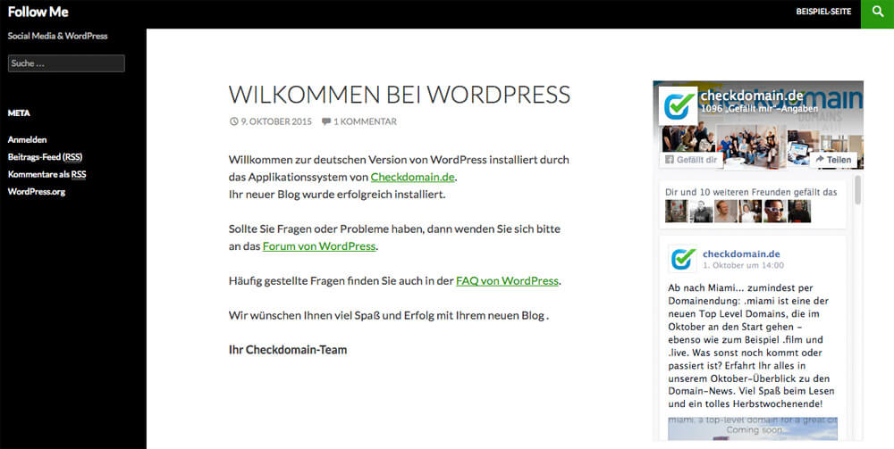 Quelle Screenshot: Facebook Page Plugin in WordPress eingebunden