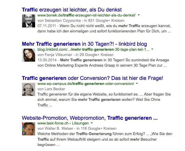 Ein Blick in die Vergangenheit: Die Profilbilder hat Google leider aus den SERPS verschwinden lassen. Screenshot: S. Cantzler