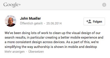 Das Ende der Autorenbilder: Google begründet es vor allem mit einer Verbesserung für die mobile Nutzung. Screenshot: S. Cantzler
