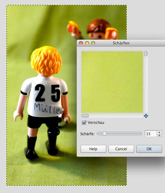 Der dritte Schritt nach mehr Helligkeit und Kontrast sowie einer intensiveren Farbsättigung ist die Bildschärfe, die für mehr Definition sorgt. Screenshot: S. Cantzler