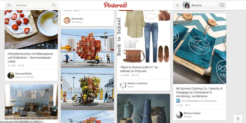 Erdbeerkuchen, chinesische Fahrradkuriere und Visitenkarten: Pinterest ist eine inspirierende Wundertüte, über die sich passender Content schnell verbreitet. Screenshot: S. Cantzler
