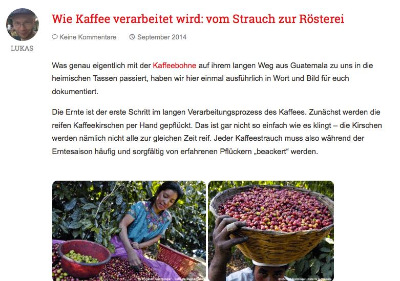 Der Kaffeeshop sonntagmorgen liefert in seinem Blog jede Menge interessante Informationen für Kaffeefans - von der Anpflanzung über empfehlenswerte Cafés bis hin zu neuen Produkten. Screenshot: sonntagmorgen.com