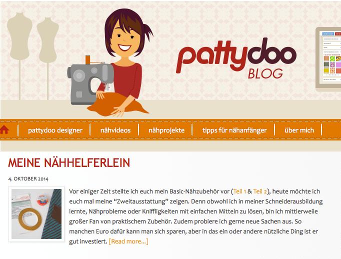 Erst gab es nur den Blog, dann kam der Shop: Auf dem pattydoo-Blog schreibt die Chefin nach wie vor selbst und zeigt außerdem in vielen Videos, wie die Sache mit dem Nähen funktioniert - damit hat sie sich in der DIY-Szene mittlerweile eine große Bekanntheit erworben. Screenshot: pattydoo.de