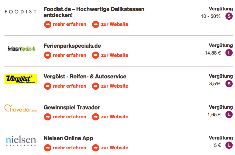 Welcher Partner soll es sein? Auf Plattformen wie affilinet oder Zanox stehen hunderte von Programmen zur Auswahl. Screenshot: affili.net