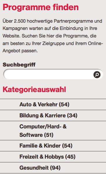 Auto und Verkehr, Erotik, Gesellschaft und Politik: Der Kategorien-Katalog der Affiliate-Netzwerke umfasst alle Lebensbereiche. Screenshot: affili.net