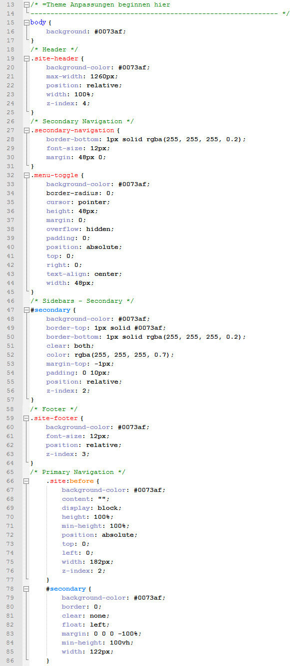 Beispiel: CSS-Code um Farbe von Header, Navigation, Sidebar und Footer zu ändern.