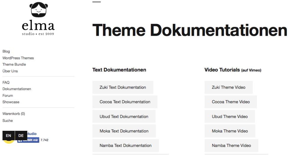 Vorbildlich: Auf der Webseite von elma studio finden sich zusätzlich zu den Dokumentation zu jedem Theme auch Video-Tutorials. Screenshot: elma studio