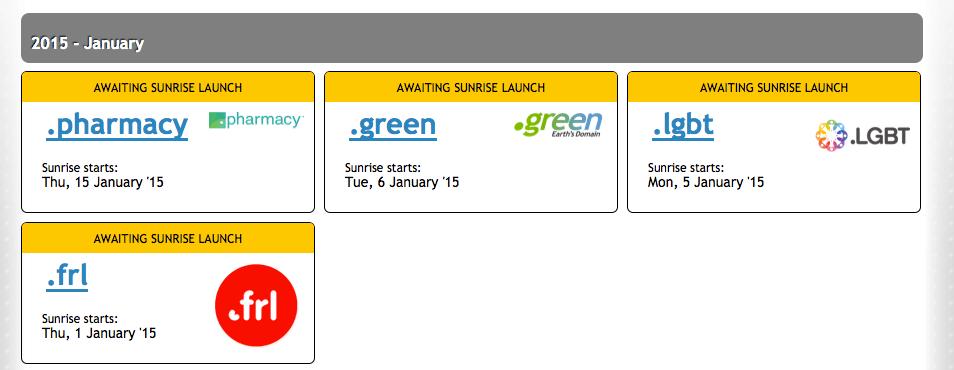 Noch nicht allzuviel los: Im Trademark Clearinghouse sind für den Januar bislang nur wenige Sunrise-Starts angekündigt. Screenshot: TMCH